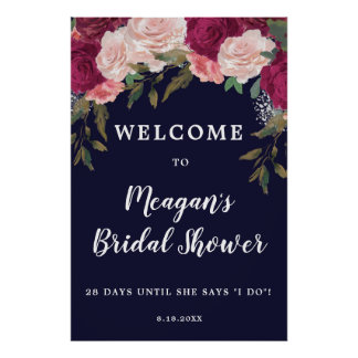 Poster signe bienvenu de douche nuptiale florale de