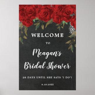 Poster signe bienvenu de douche nuptiale florale de roses