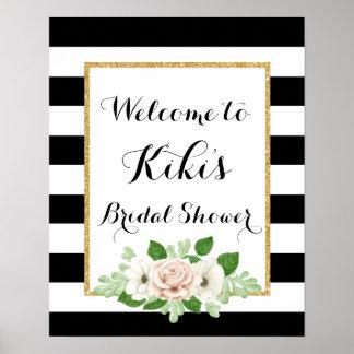 Poster Signe bienvenu de douche nuptiale florale moderne