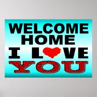 Poster Signe bienvenu de maison je t'aime