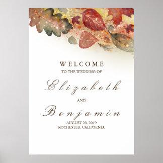 Poster Signe bienvenu de mariage de automne