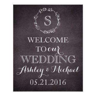 Poster Signe bienvenu de mariage de date de nom de marié