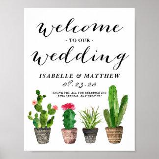Poster Signe bienvenu de mariage de Succulents