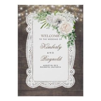 Poster Signe bienvenu de mariage floral blanc rustique de