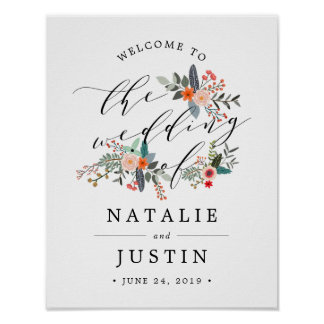 Poster Signe bienvenu de mariage floral de Boho