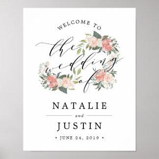 Poster Signe bienvenu de mariage floral de milieu de