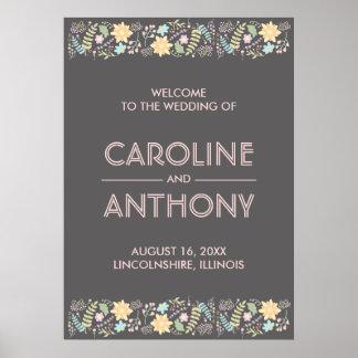 Poster Signe bienvenu de mariage floral moderne rose gris