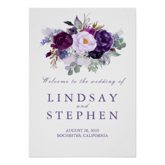 Poster Signe bienvenu de mariage floral pourpre