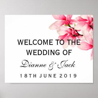 Poster Signe bienvenu de mariage floral rose romantique