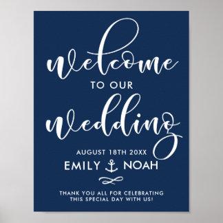Poster Signe bienvenu de mariage nautique de manuscrit de