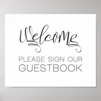 Poster Signe bienvenu de mariage notre livre d'invité