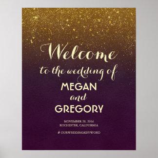 Poster Signe bienvenu de mariage vintage de scintillement
