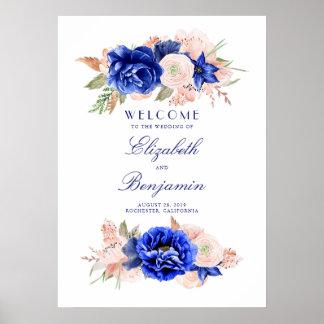 Poster Signe bienvenu de marine et de mariage floral de
