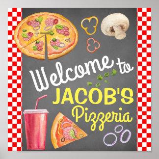 Poster Signe bienvenu de partie de pizza