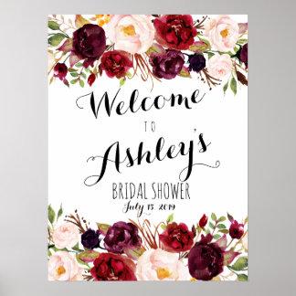 Poster Signe bienvenu de rose rouge de Marsala