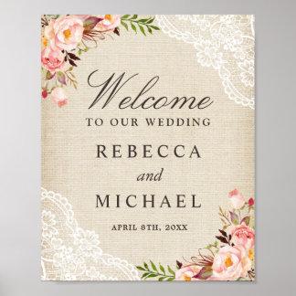 Poster Signe bienvenu de toile de jute de mariage floral