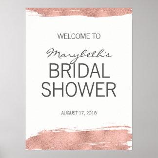 Poster Signe bienvenu d'or de douche nuptiale rose de