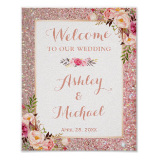 Poster Signe bienvenu d'or de mariage floral rose de