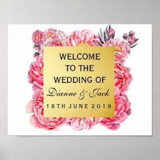 Poster Signe bienvenu d'or élégant et de mariage floral