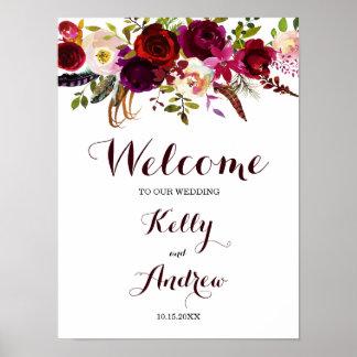 Poster Signe bienvenu floral de mariage de Boho Bourgogne
