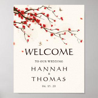 Poster Signe bienvenu floral de mariage de fleurs de
