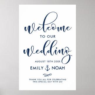 Poster Signe bienvenu II de mariage nautique de manuscrit