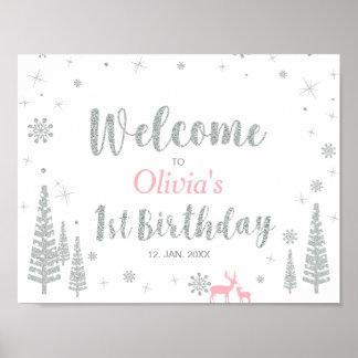 Poster Signe bienvenu pour fête d'anniversaire de fille