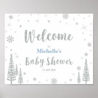 Poster Signe bienvenu pour le baby shower d'hiver,