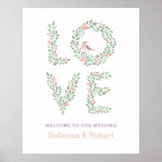 Poster Signe botanique de mariage d'inséparables
