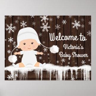Poster Signe de baby shower d'hiver de flocon de neige