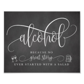 Poster Signe de barre d'alcool de mariage