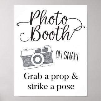 Poster Signe de cabine de photo, épousant le signe,