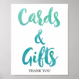Poster Signe de cartes et de cadeaux de plage de