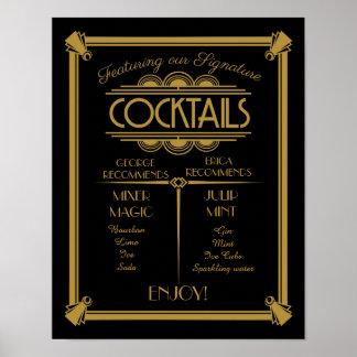 Poster Signe de cocktail d'art déco, signature, signe de