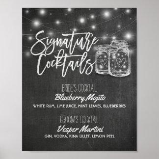 Poster Signe de décor de mariage de menu de boissons de