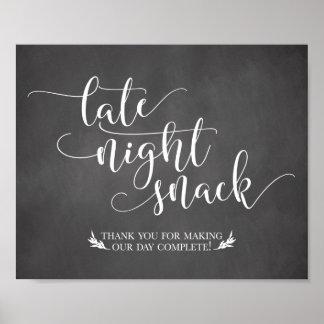 Poster Signe de faveur de casse-croûte de fin de nuit