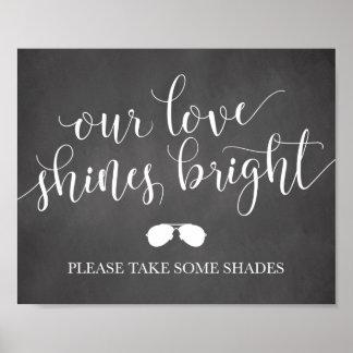 Poster Signe de faveurs de lunettes de soleil - notre