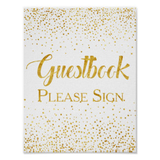 Poster Signe de Guestbook de mariage de confettis de