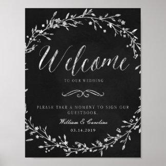Poster Signe de Guestbook de mariage de guirlande de