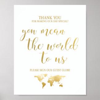Poster Signe de livre d'invité de globe du charme   de