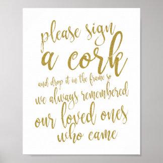 Poster Signe de l'or 8x10 de livre d'invité de mariage de