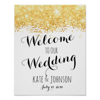 Poster Signe de mariage, accueil, affiche, glittter d'or