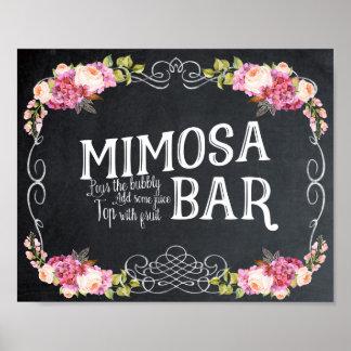 Poster Signe de mariage de barre de mimosa