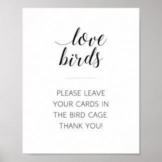 Poster Signe de mariage de cage à oiseaux d'inséparables