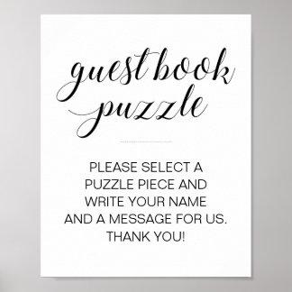 Poster Signe de mariage de puzzle de livre d'invité -