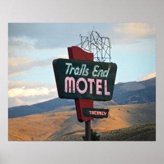Poster Signe de motel d'extrémité de traînées, Wyoming