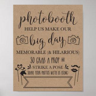 Poster Signe de noce de Photobooth Hashtag