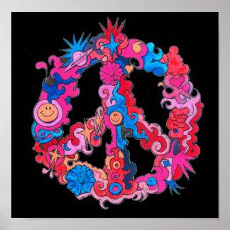 Poster Signe de paix psychédélique