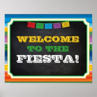 Poster Signe de partie de fiesta, signe bienvenu, partie