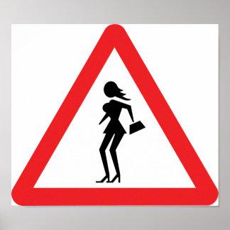 Poster Signe de prostituée de précaution (prostituée